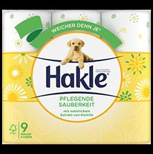 "Hakle Toilettenpapier ""Pflegende Sauberkeit"", 4-lagig, 135 Blatt, FSC, 9 Rollen"
