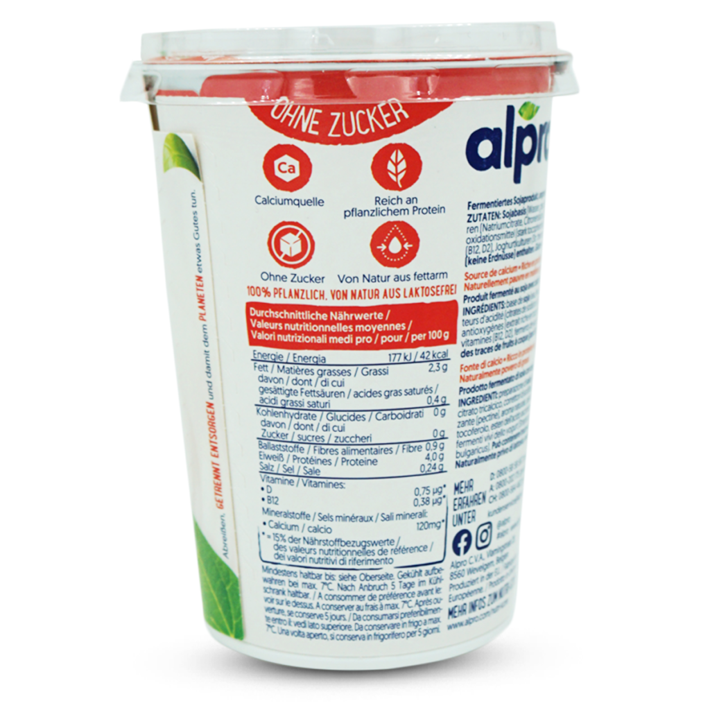 Alpro Vegan Jogurt auf Sojabasis ohne Zucker