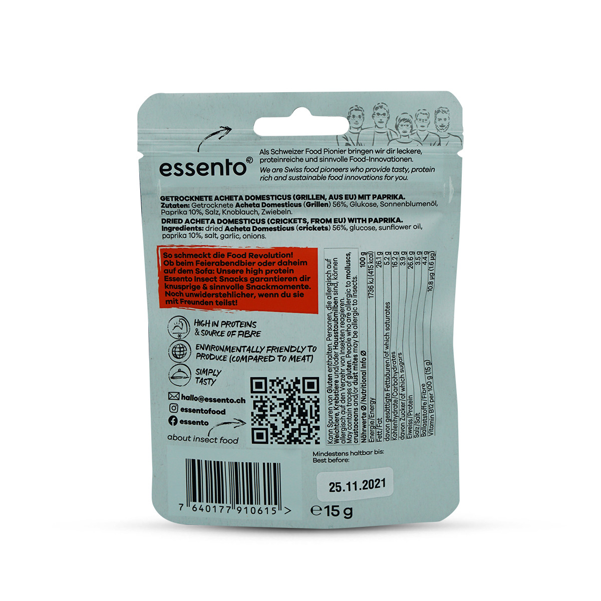 Essento Insect Snack - Paprika Acheta