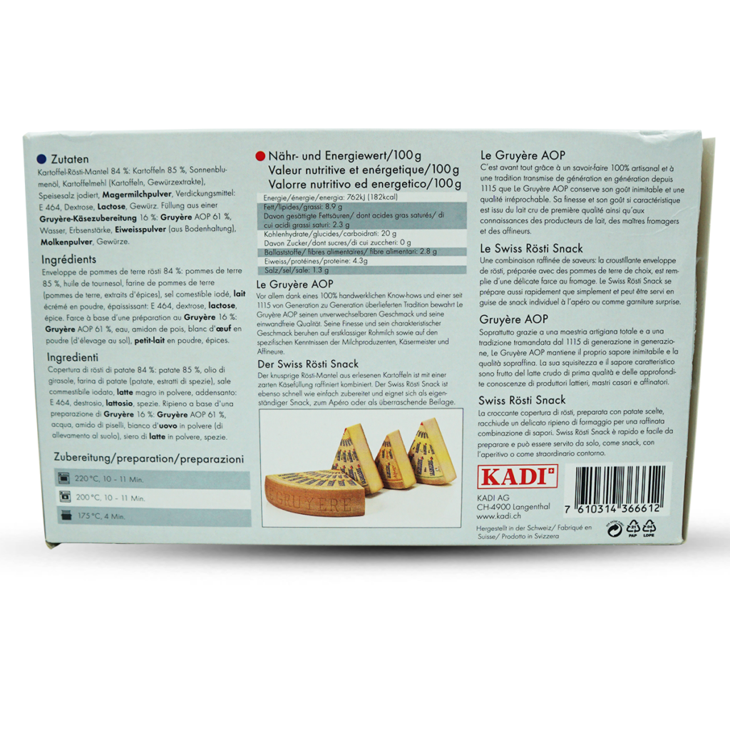 Kadi Swiss Rösti AOC Gruyère Snack